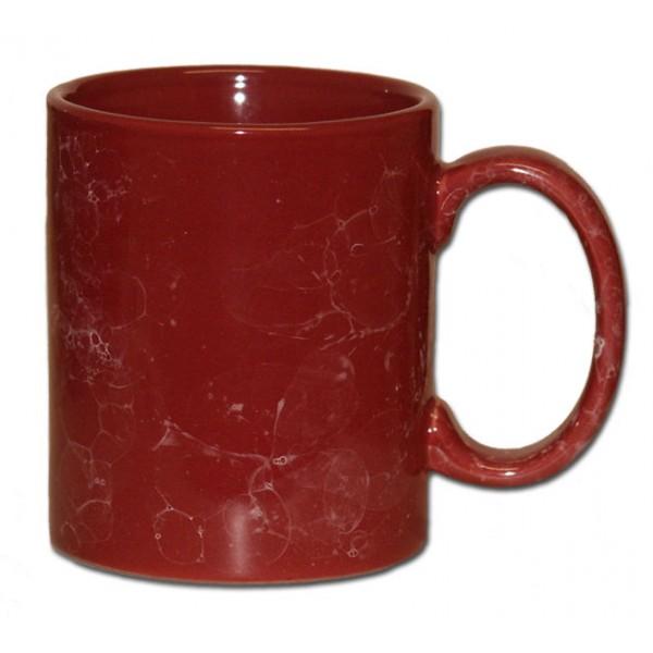 Becher maroon mit Marmorglasur  Keramik bedrucken