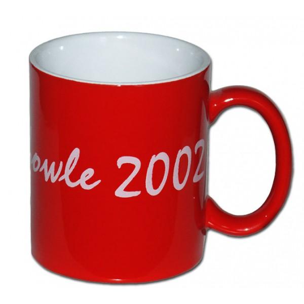 Becher rot innen weiß Keramik bedrucken